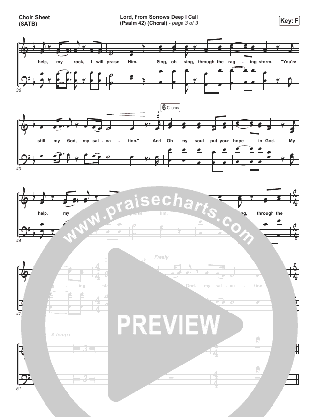 Lord From Sorrows Deep I Call (Psalm 42) (Choral) Choir Sheet (SATB) (PraiseCharts Choral / Matt Papa / Keith & Kristyn Getty)