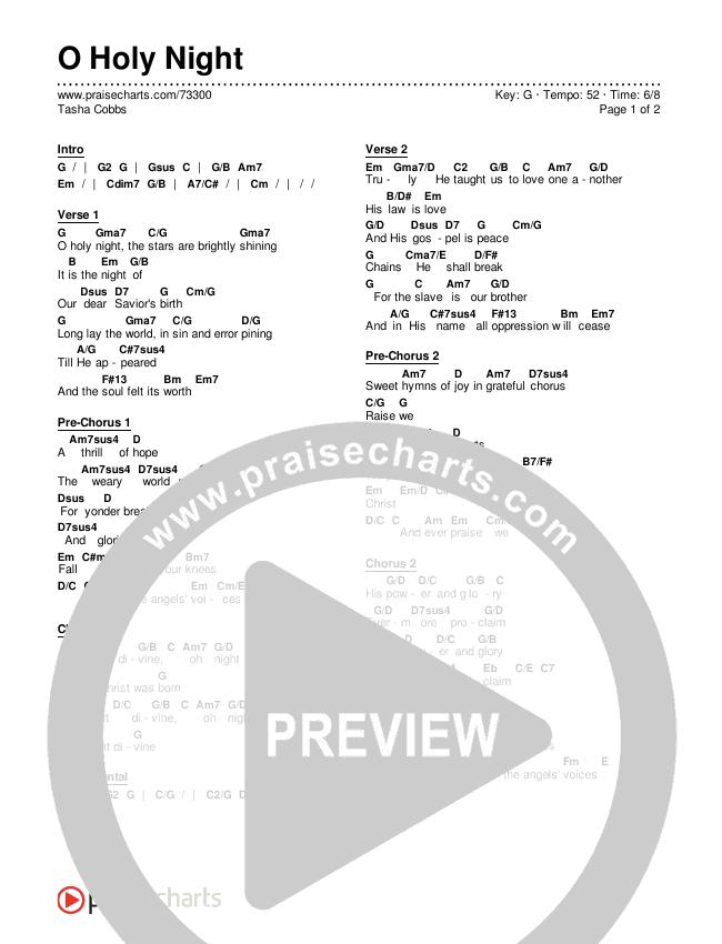 O Holy Night Chords & Lyrics (Tasha Cobbs)