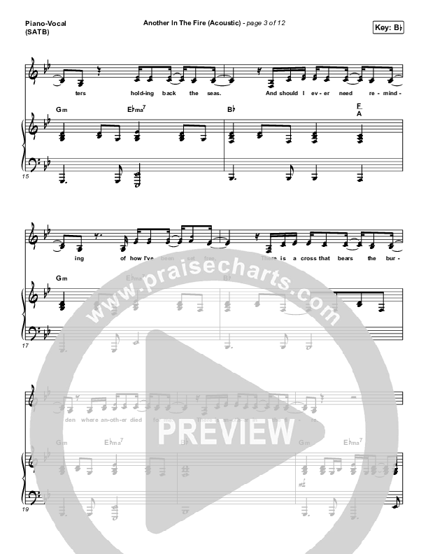 Another In The Fire (Acoustic) Piano/Vocal (SATB) (Hillsong UNITED)