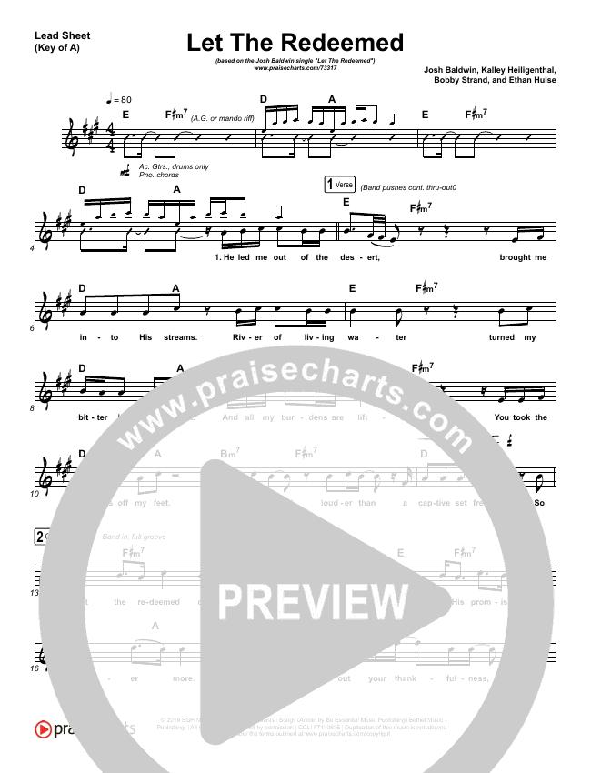 Let The Redeemed Lead Sheet (Melody) (Josh Baldwin)