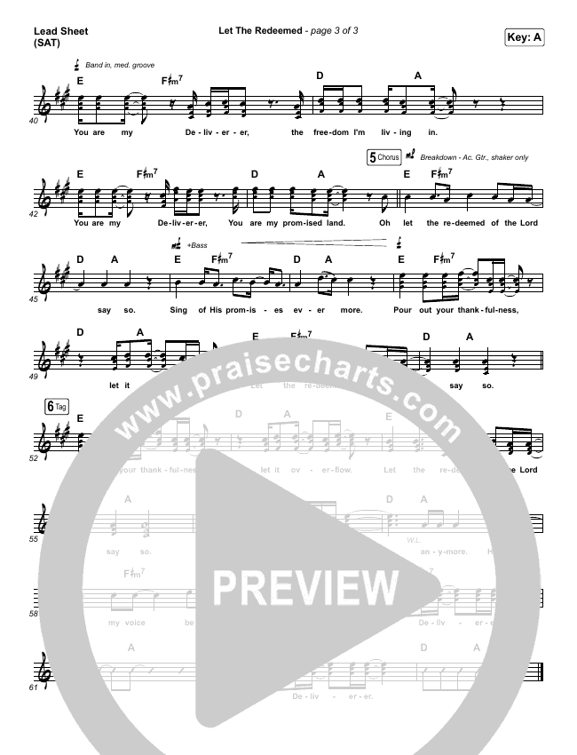 Let The Redeemed Piano/Vocal Pack (Josh Baldwin)