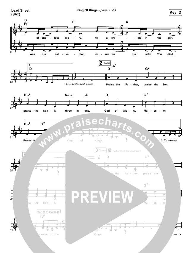 King Of Kings Lead Sheet (SAT) (Hillsong Worship)
