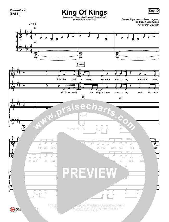 King Of Kings Piano/Vocal (SATB) (Hillsong Worship)