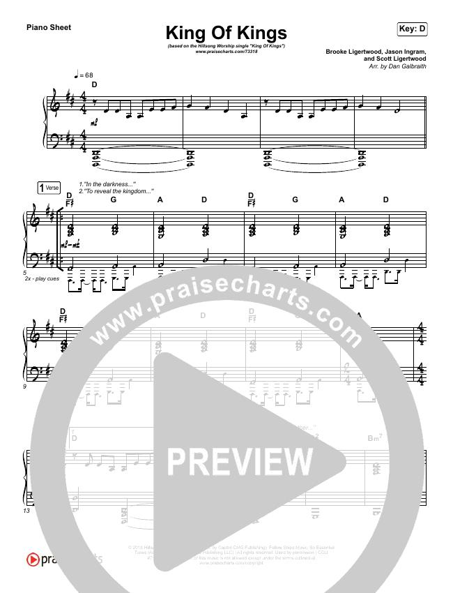 King Of Kings Piano Sheet (Hillsong Worship)