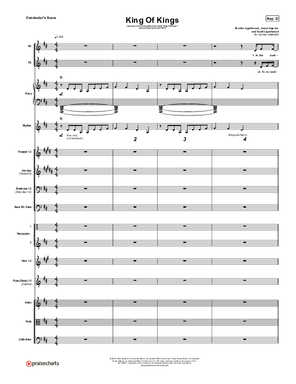 King Of Kings Conductor's Score (Hillsong Worship)