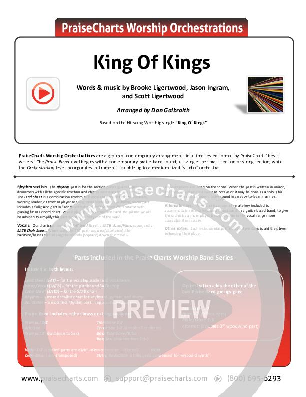 King Of Kings Cover Sheet (Hillsong Worship)