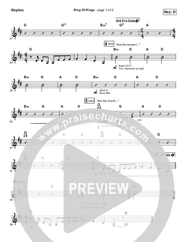 King Of Kings Rhythm Chart (Hillsong Worship)