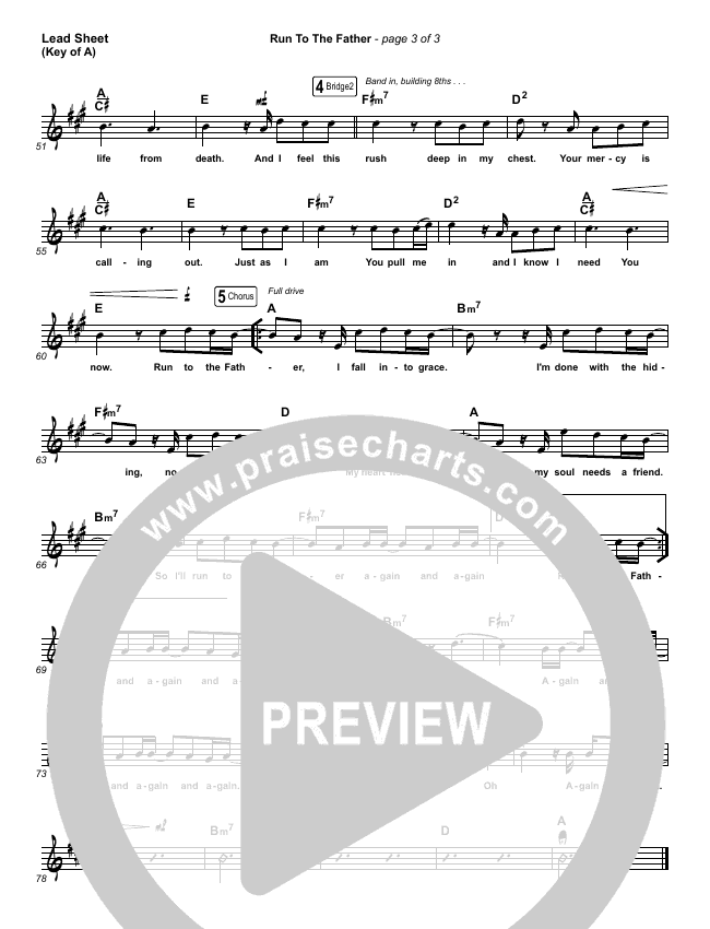 Run To The Father Lead Sheet (Melody) (Cody Carnes)