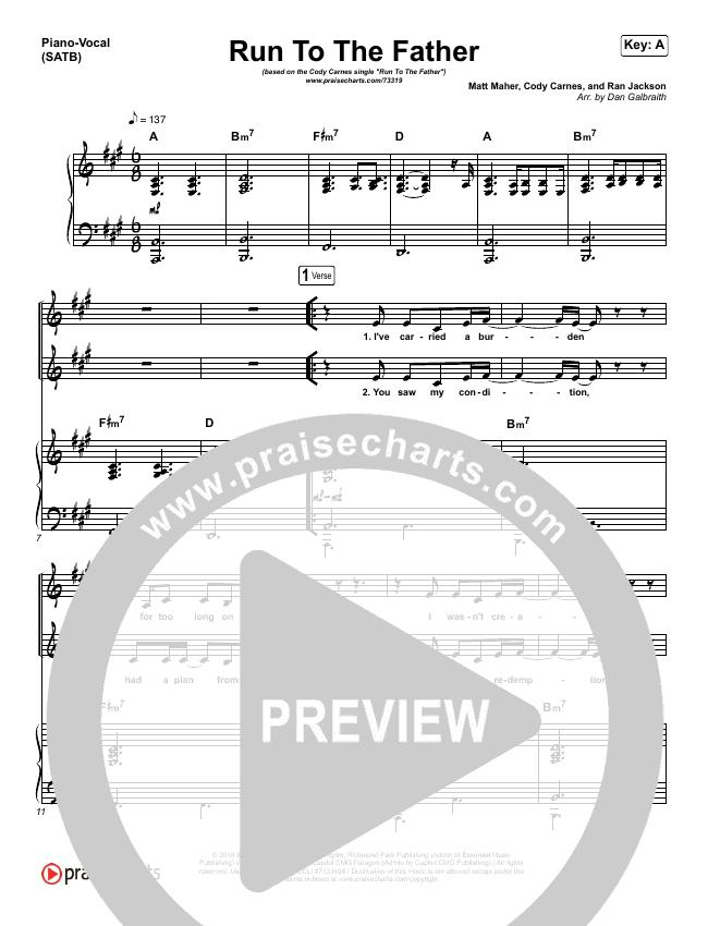 Run To The Father Piano/Vocal (SATB) (Cody Carnes)