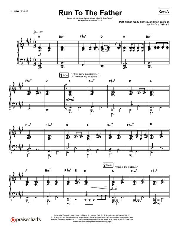Run To The Father Piano Sheet (Cody Carnes)