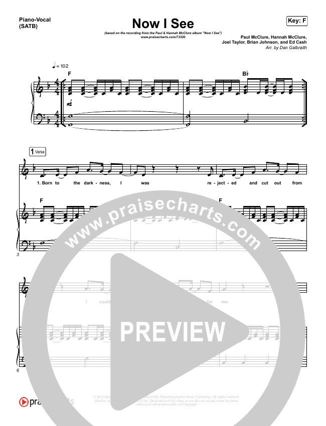 Now I See Piano/Vocal (SATB) (Paul McClure / Hannah McClure / The McClures)