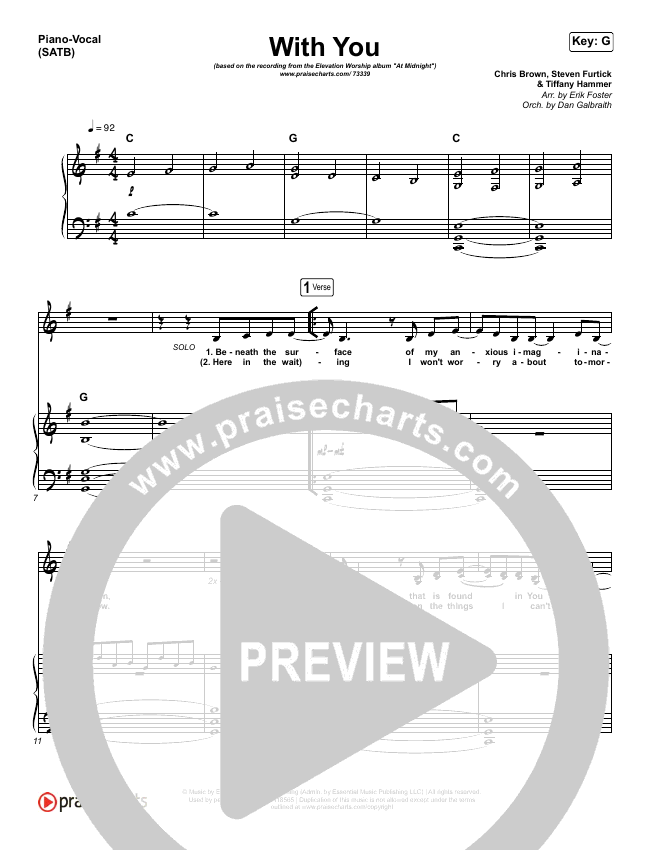 With You Piano/Vocal (SATB) (Elevation Worship)