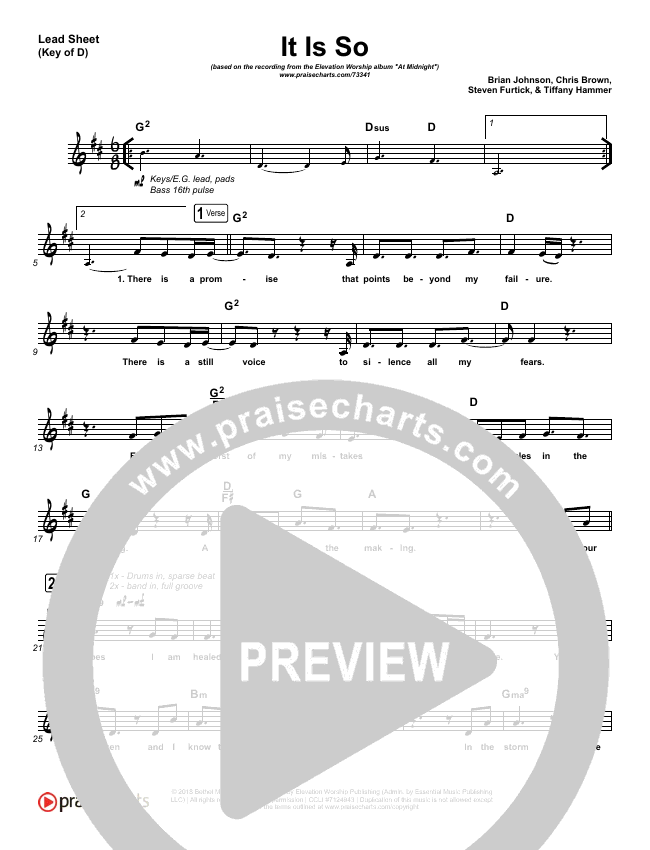 It Is So Lead Sheet (Melody) (Elevation Worship)