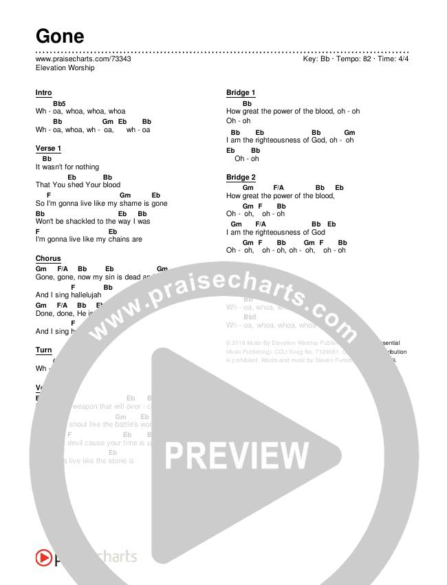 Gone Chords & Lyrics (Elevation Worship)
