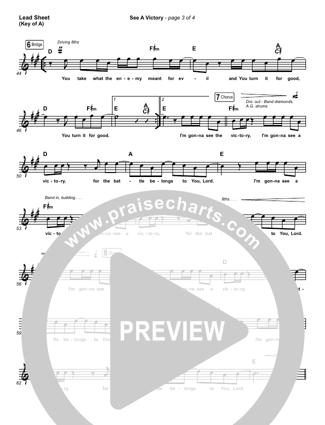 See A Victory Lead Sheet (Melody) (Elevation Worship)