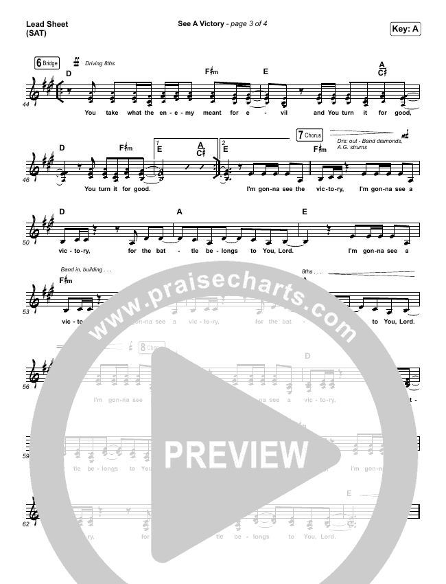 See A Victory Lead Sheet (SAT) (Elevation Worship)