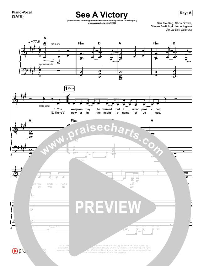 See A Victory Piano/Vocal (SATB) (Elevation Worship)