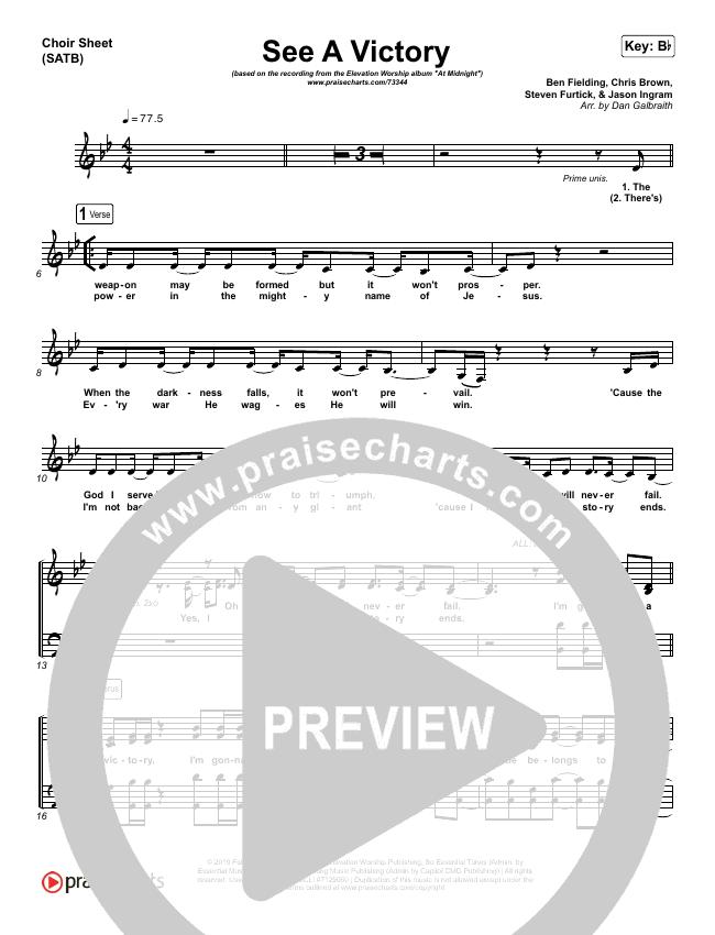 See A Victory Choir Sheet (SATB) (Elevation Worship)