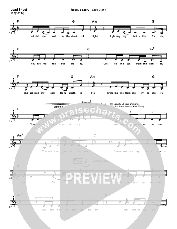 Rescue Story Lead Sheet (Melody) (Zach Williams)
