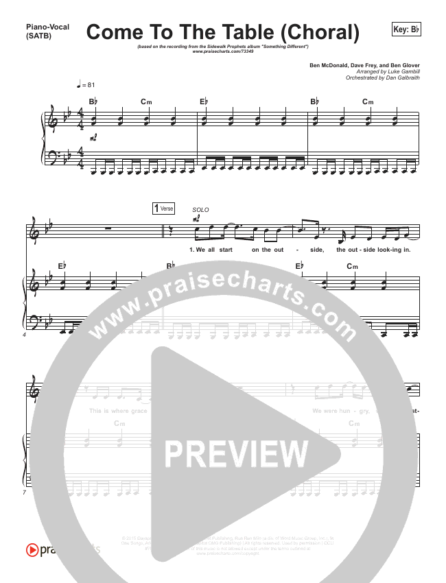 Come To The Table (Choral) Orchestration (PraiseCharts Choral / Sidewalk Prophets)