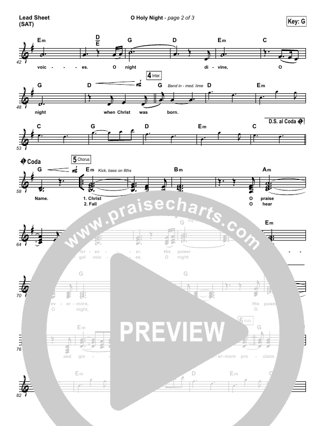O Holy Night (Choral) Lead & Piano/Vocal (PraiseCharts Choral / Hillsong Worship / Arr. Luke Gambill)
