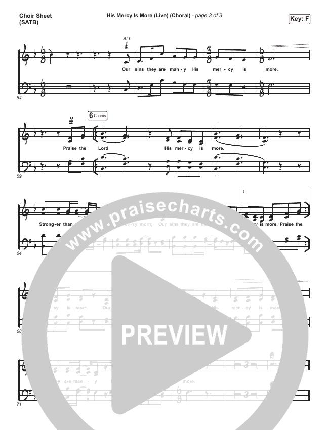 His Mercy Is More (Choral) Choir Sheet (SATB) (PraiseCharts Choral / Shane & Shane/The Worship Initiative)