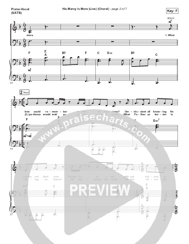His Mercy Is More (Choral) Piano/Vocal (SATB) (PraiseCharts Choral / Shane & Shane/The Worship Initiative / Arr. Luke Gambill)
