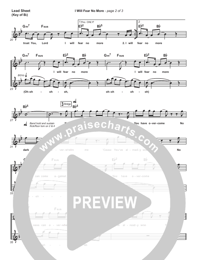 I Will Fear No More Lead Sheet (Melody) (The Afters)