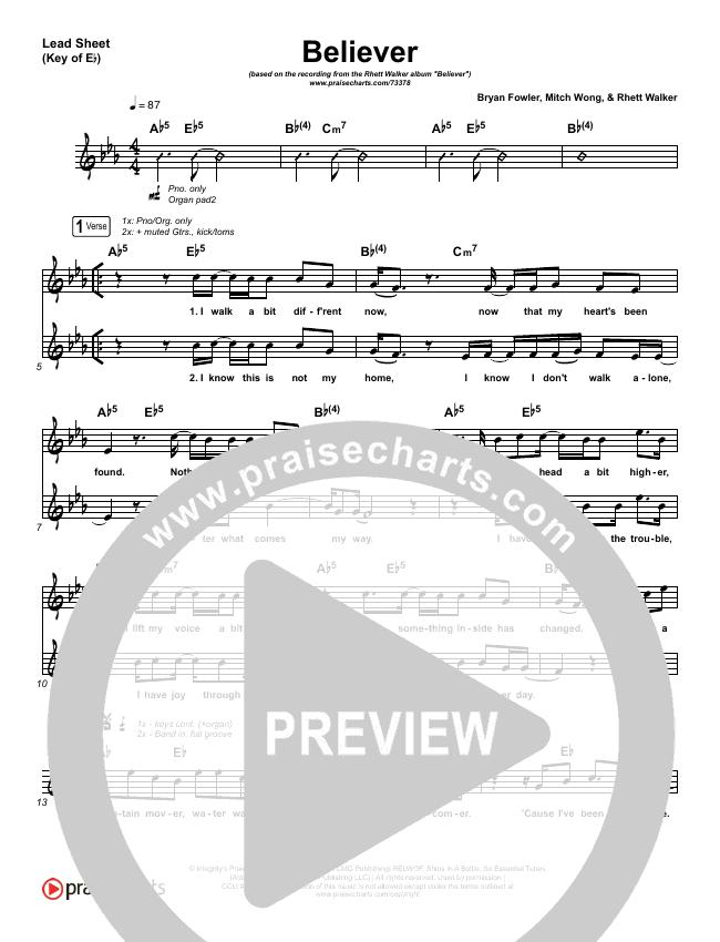 Believer Lead Sheet (Melody) (Rhett Walker Band)