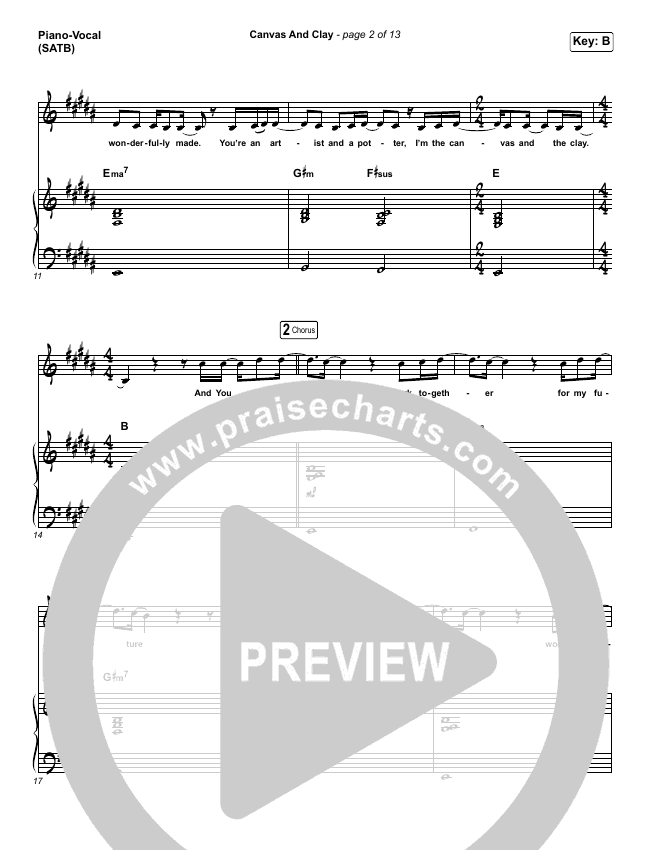 Canvas And Clay (Live) Piano/Vocal (SATB) (Pat Barrett)