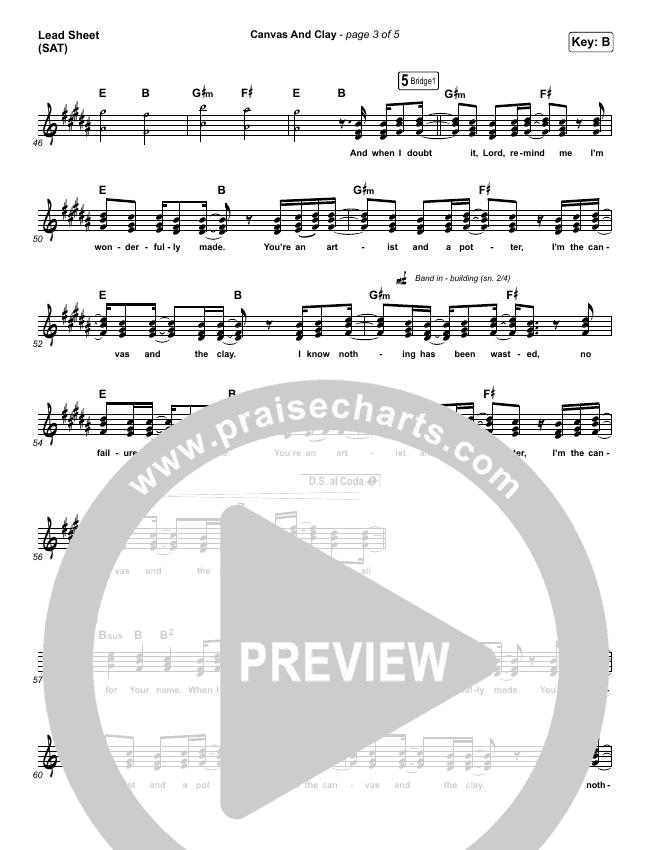 Canvas And Clay (Live) Lead & Piano/Vocal (Pat Barrett)