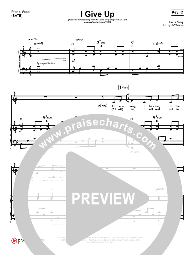 I Give Up Piano/Vocal (SATB) (Laura Story)