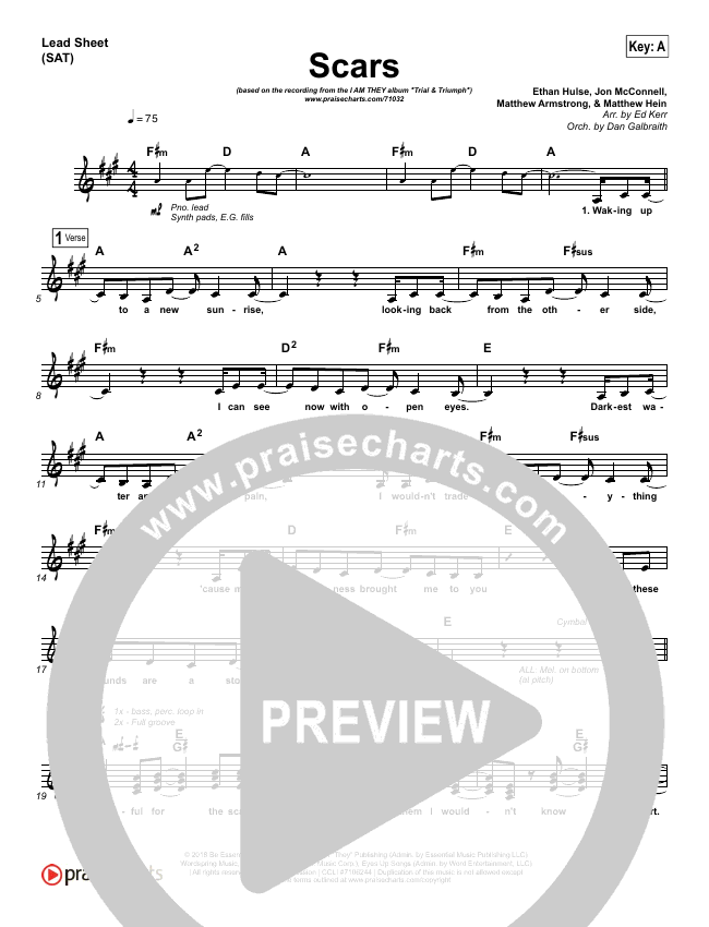 Scars (Choral) Lead Sheet (SAT) (PraiseCharts Choral / I Am They)