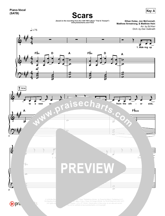Scars (Choral) Piano/Vocal (SATB) (PraiseCharts Choral / I Am They)