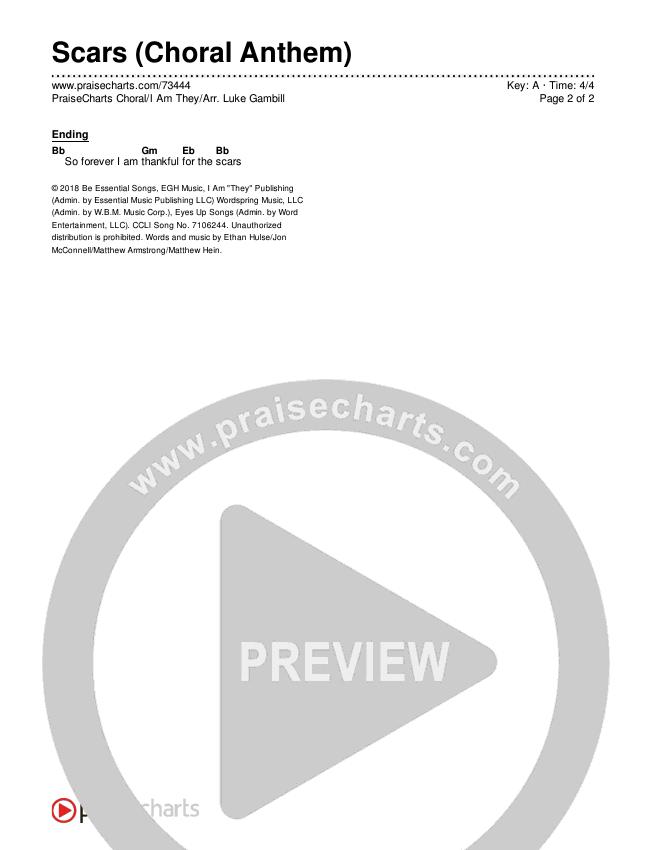Scars (Choral) Chords & Lyrics (PraiseCharts Choral / I Am They)