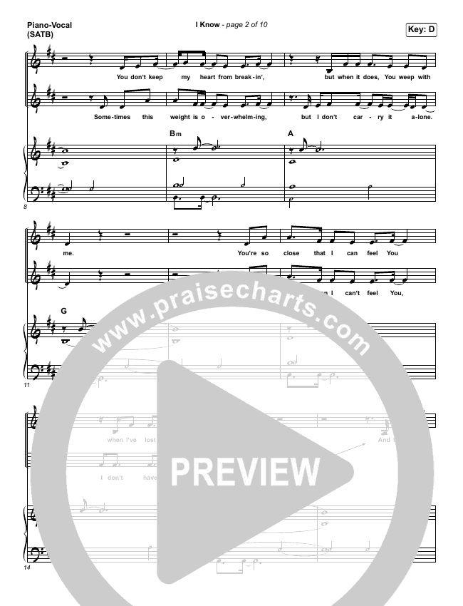 I Know Piano/Vocal (SATB) (Big Daddy Weave)