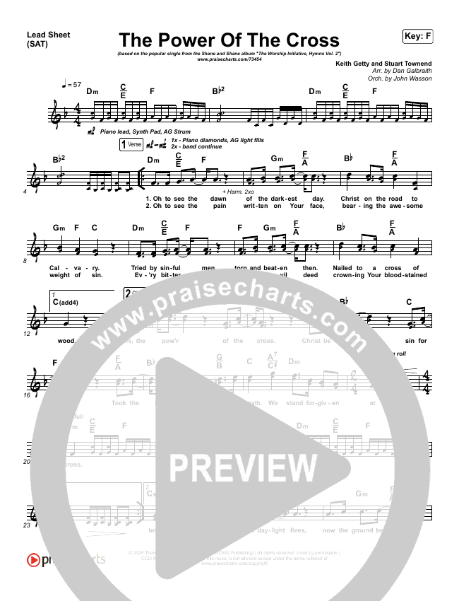 The Power Of The Cross Lead Sheet Pianovocal Shane
