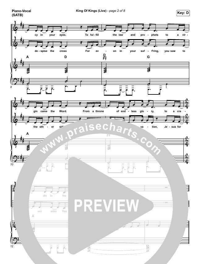 King Of Kings (Live) Piano/Vocal (SATB) (Hillsong Worship / Brooke Ligertwood)