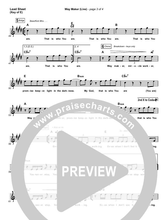Way Maker (Live) Lead Sheet (Melody) (Leeland)