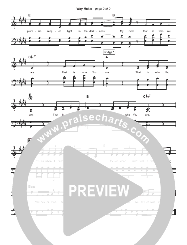 Way Maker (Live) Hymn Sheet (Leeland)
