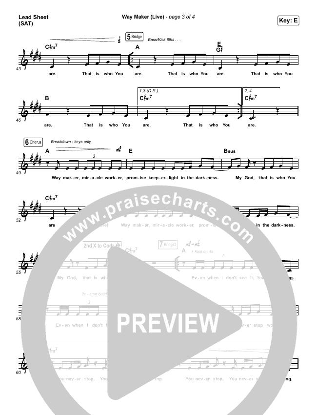 Way Maker (Live) Piano/Vocal Pack (Leeland)
