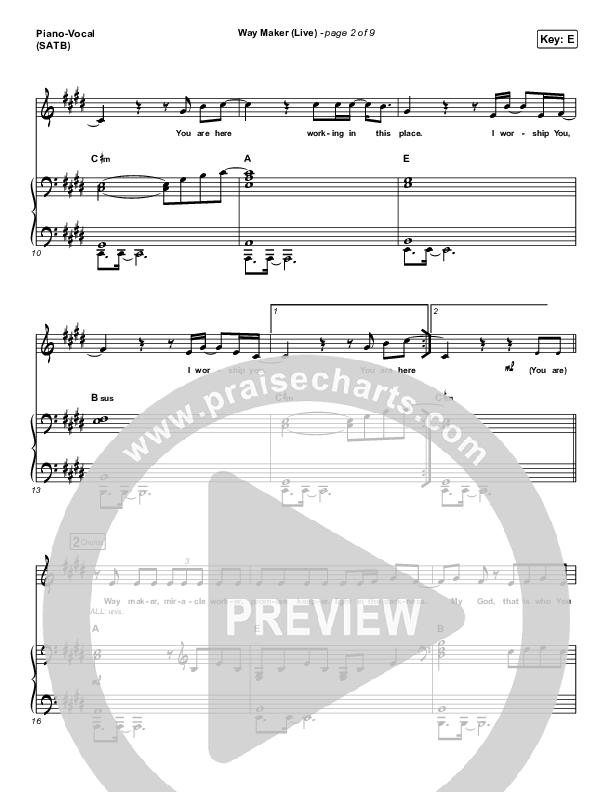 Way Maker (Live) Piano/Vocal (SATB) (Leeland)