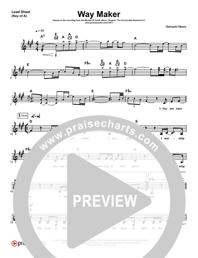 Way Maker (Live) Lead Sheet (Melody) (Michael W. Smith)