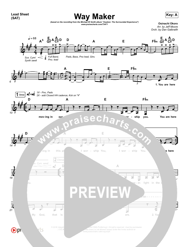 Way Maker (Live) Lead Sheet (SAT) (Michael W. Smith)