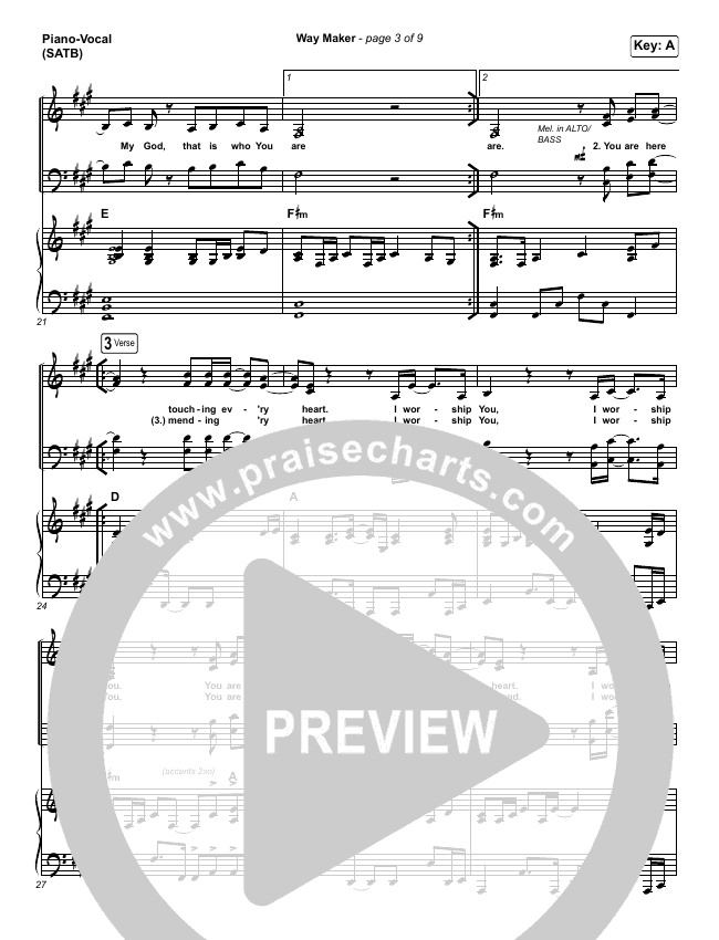 Way Maker (Live) Piano/Vocal (SATB) (Michael W. Smith)