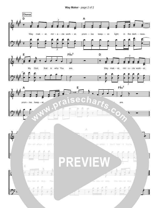 Way Maker (Live) Hymn Sheet (Michael W. Smith)