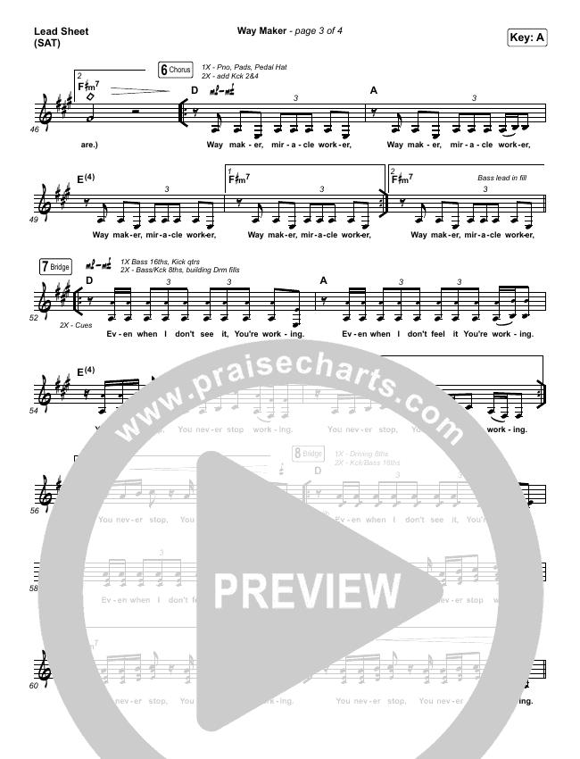 Way Maker (Live) Lead & Piano/Vocal (Michael W. Smith)