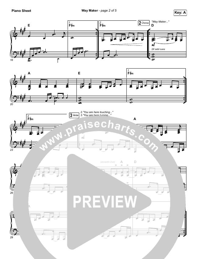 Way Maker (Live) Piano Sheet (Michael W. Smith)