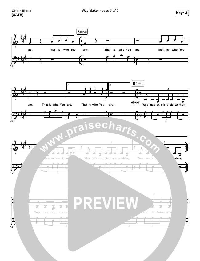 Way Maker (Live) Choir Sheet (SATB) (Michael W. Smith)