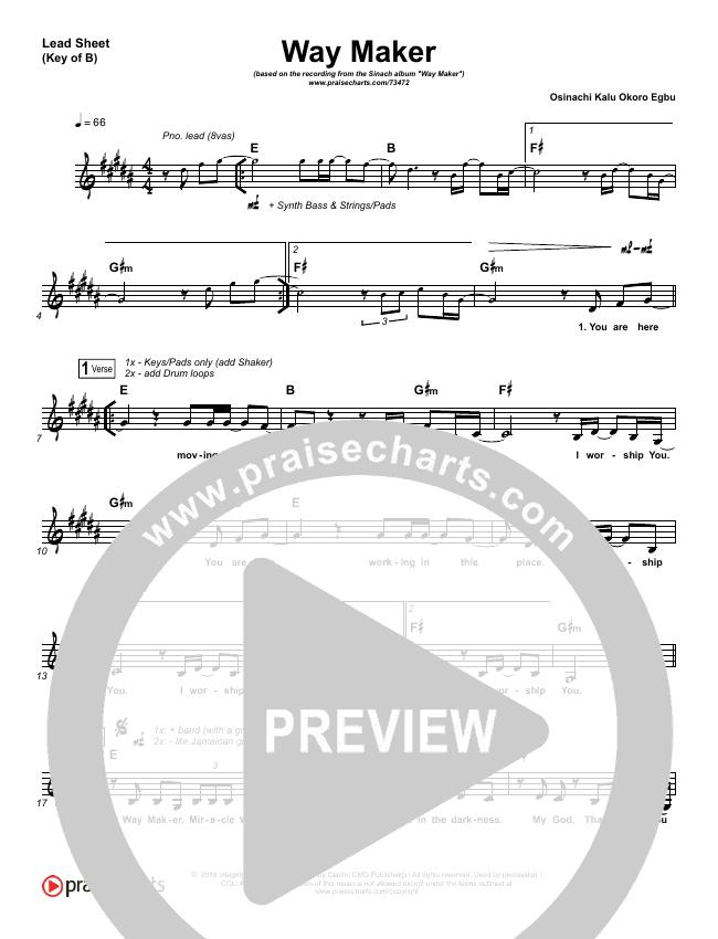 Way Maker Lead Sheet (Melody) (Sinach)